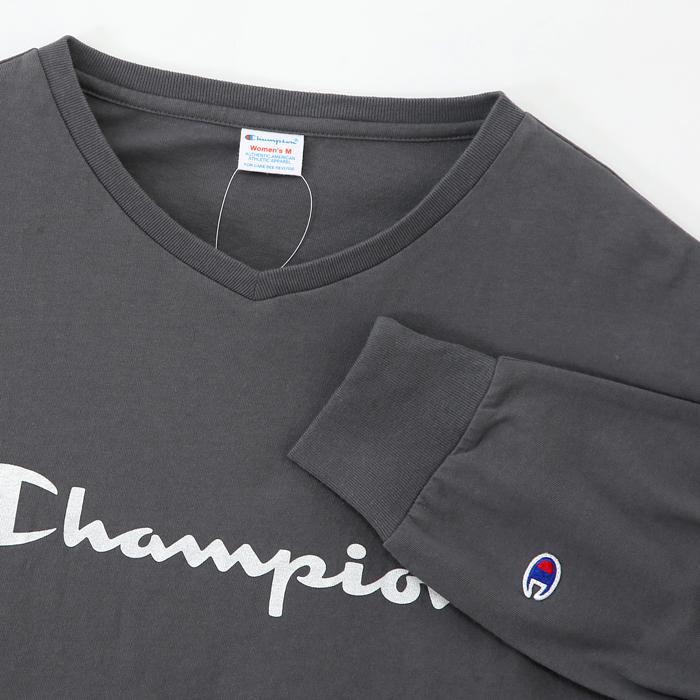 ウィメンズ VネックロングスリーブTシャツ 17FW 【秋冬新作】チャンピオン(CW-L403)