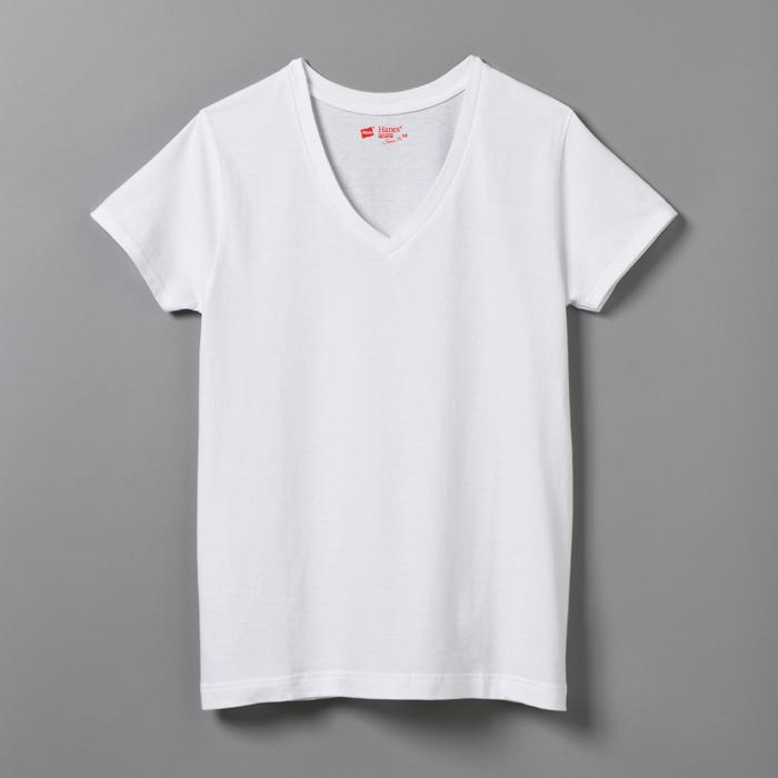 ウィメンズ ジャパンフィット【2枚組】VネックTシャツ 17FW Japan Fit for HER ヘインズ(HW5125)