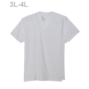 大きいサイズ 【2枚組】オープンエンドVネックTシャツ 17FW グローバルバリューライン ヘインズ(HM1EG754)