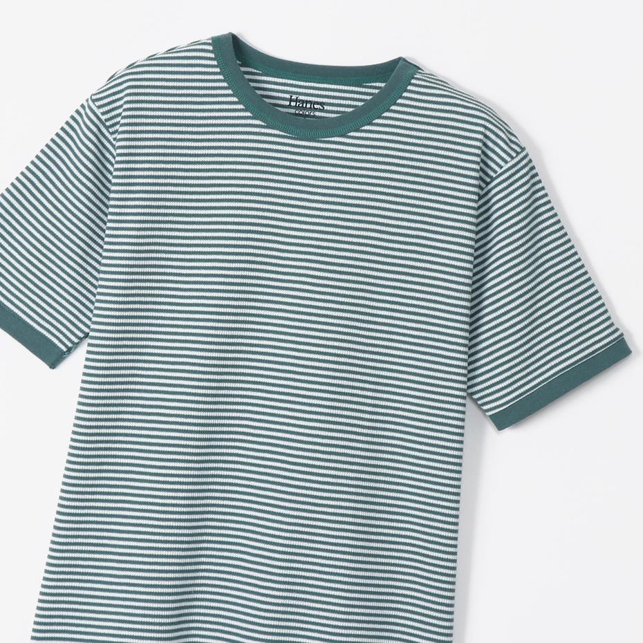 ボーダーワッフルTシャツ 20SS Hanes colors ヘインズ(HM1-R102)