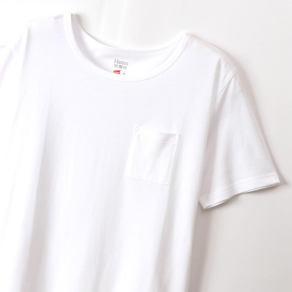 ウィメンズ クロップド ポケットTシャツ 20SS Hanes THE TEE BAR ヘインズ(HW1-R204)