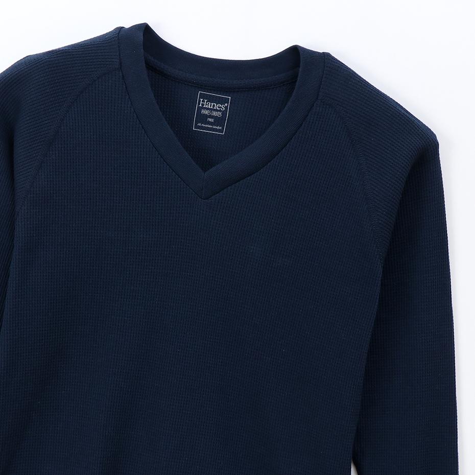 ウィメンズ サーマル VネックTシャツ 19FW Hanes Undies ヘインズ(HW4-Q502)