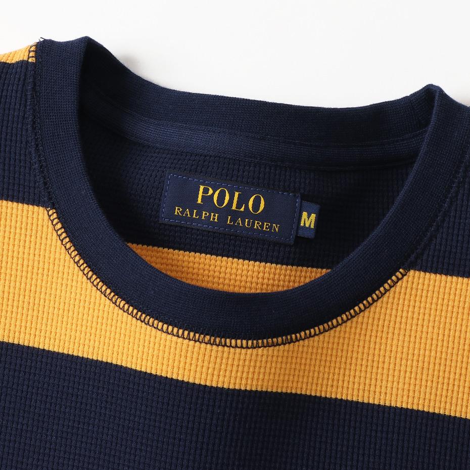 ラグビー  ストライプ ロングスリーブ ワッフルTシャツ ポロ ラルフ ローレン(RM8-N302)