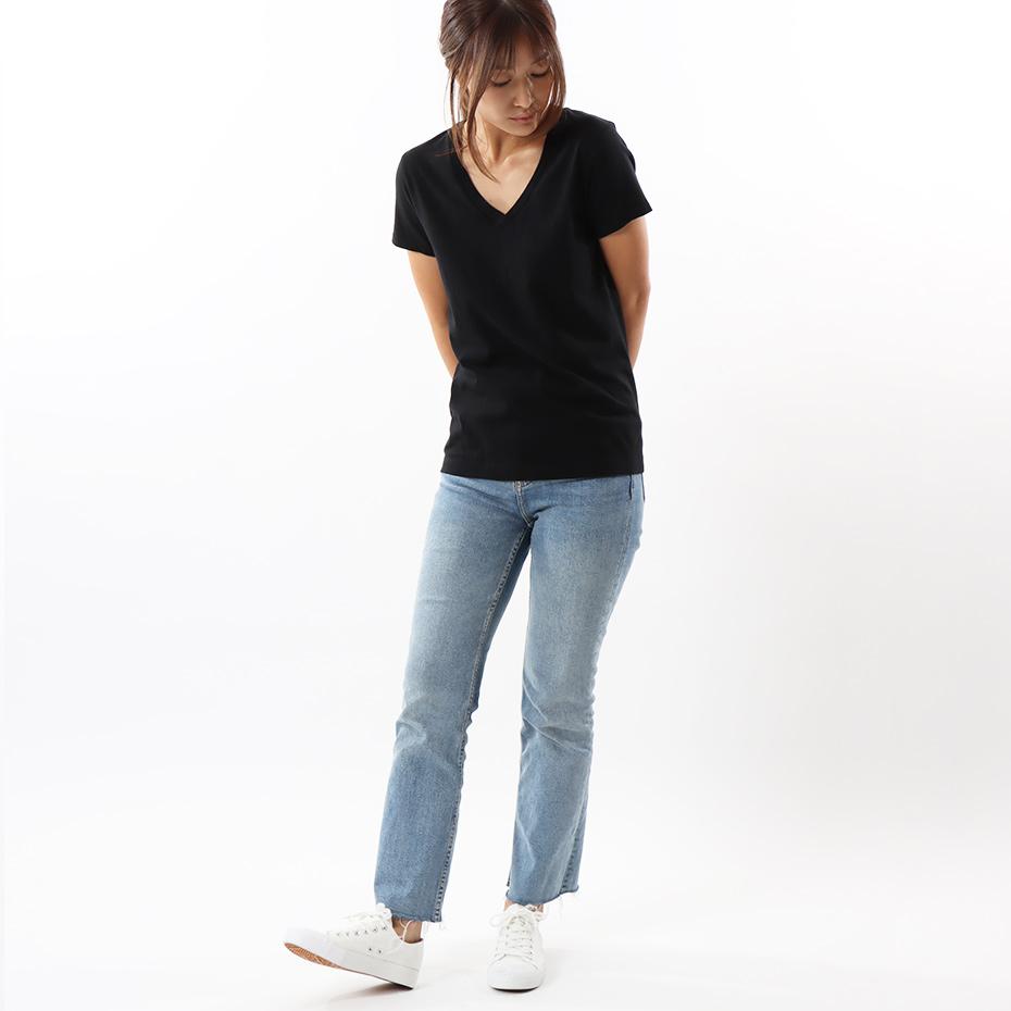 ウィメンズ ジャパンフィット【2枚組】VネックTシャツ 5.3oz 19FW Japan Fit for HER ヘインズ(HW5325)