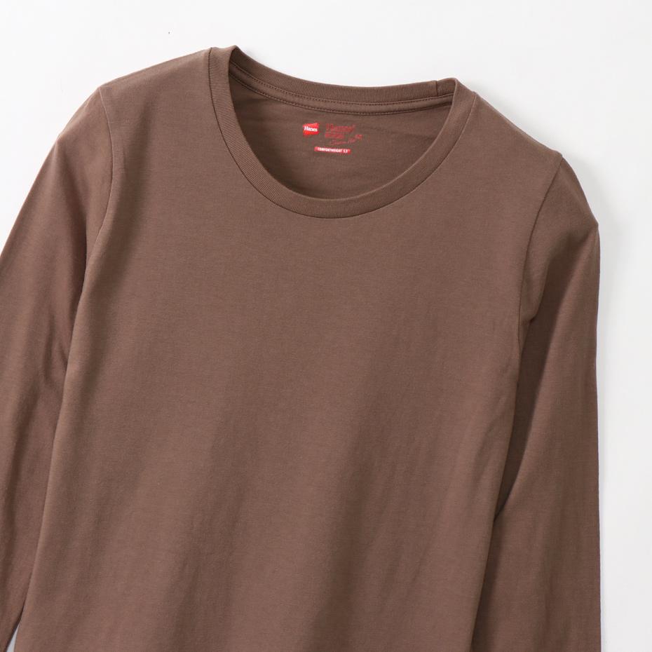 ウィメンズ ジャパンフィット【2枚組】クルーネックロングスリーブTシャツ 5.3oz 20FW Japan Fit for HER ヘインズ(HW5440)