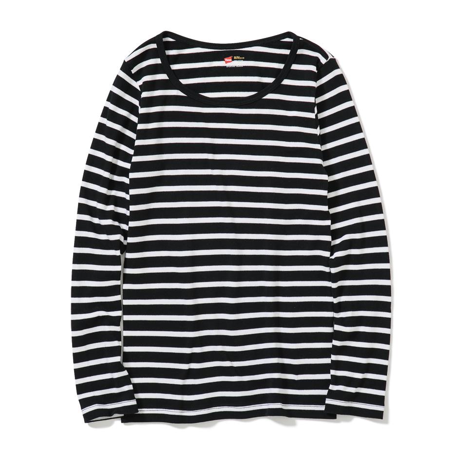 ウィメンズ クルーネックロングスリーブTシャツ 18FW スエードニット ヘインズ(HW4-N503)