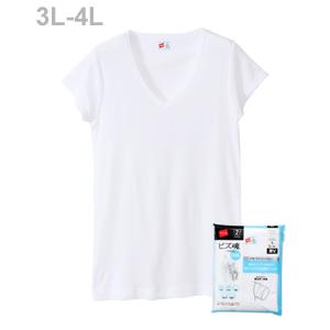大きいサイズ 【2枚組】ビズ魂クール 1分袖VネックTシャツ 18SS 魂シリーズ ヘインズ(HM1-M703)