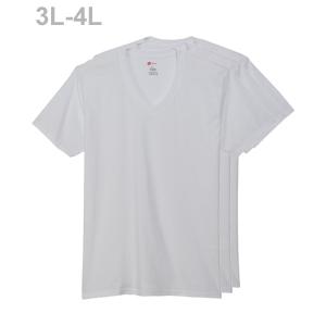 大きいサイズ 【3枚組】オープンエンドVネックTシャツ 18FW グローバルバリューライン ヘインズ(HM1EG753)
