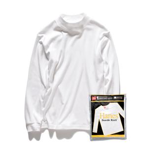 モックネックロングスリーブTシャツ 17FW スエードニット ヘインズ(HM4-L502)