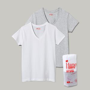 ウィメンズ ジャパンフィット【2枚組】VネックTシャツ 18FW Japan Fit for HER ヘインズ(HW5125)